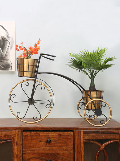 2 Pots Tricycle Planter (Black & Gold)