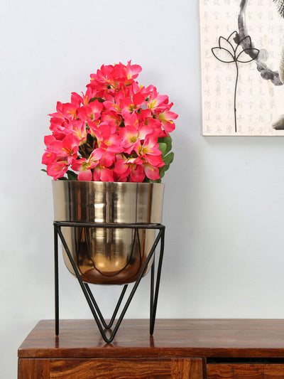 Planter with Stand (Gold & Black)