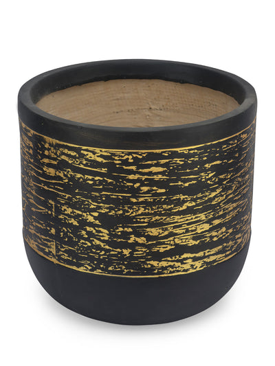 Abstract Stripes Drum Planter (Black & Brown)