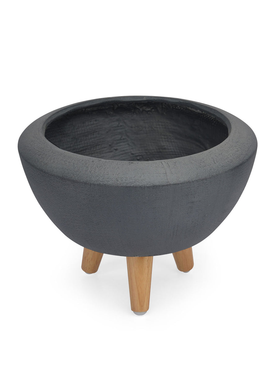 Tri Leg Broad Mouth Planter (Grey)