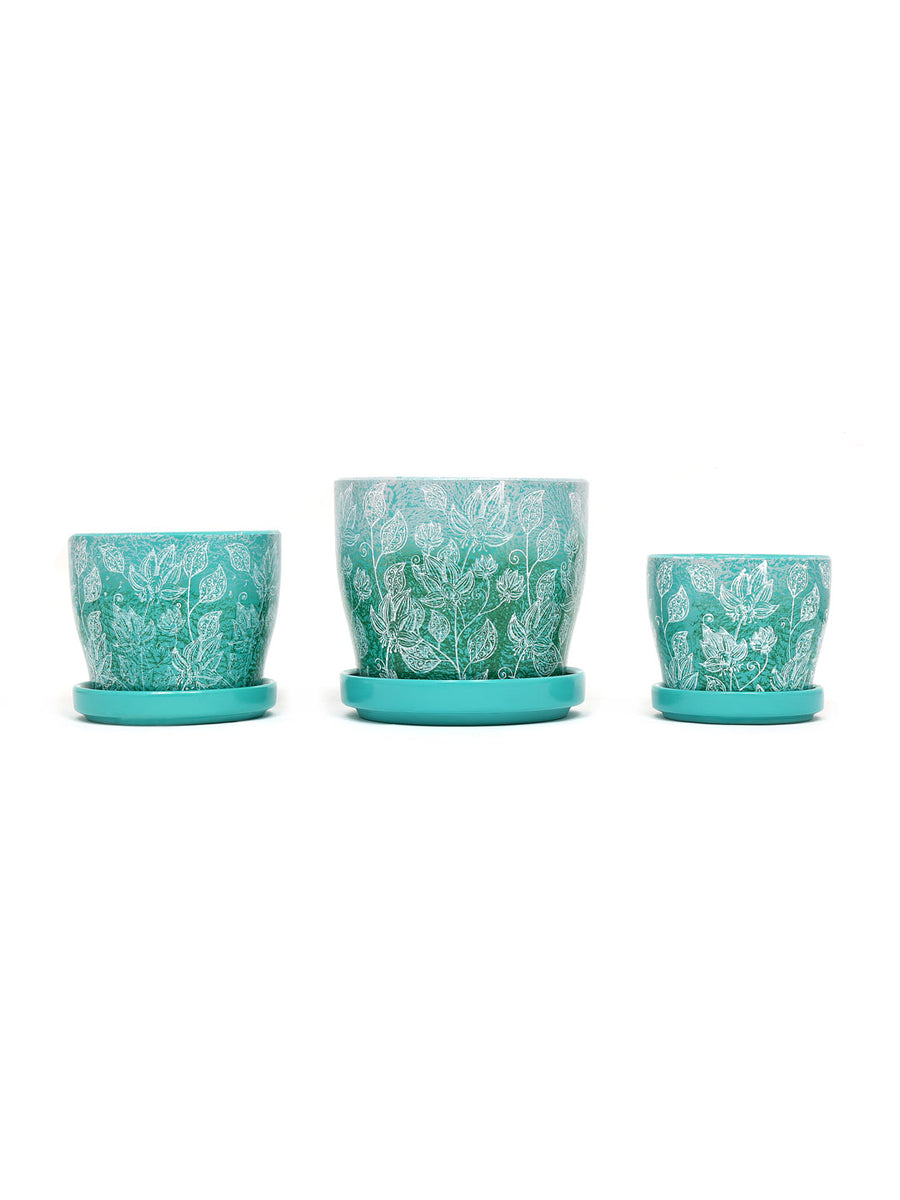 Floral Leaf Planters Set of 3 (Sea Green & Emerald)