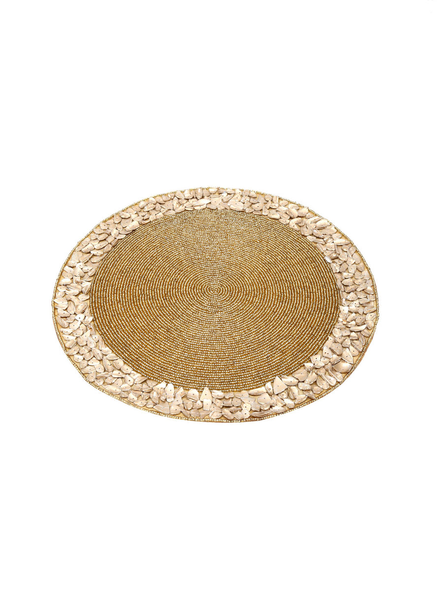 Placemat 1 Piece Bead & Mop 35Cm (Gold)