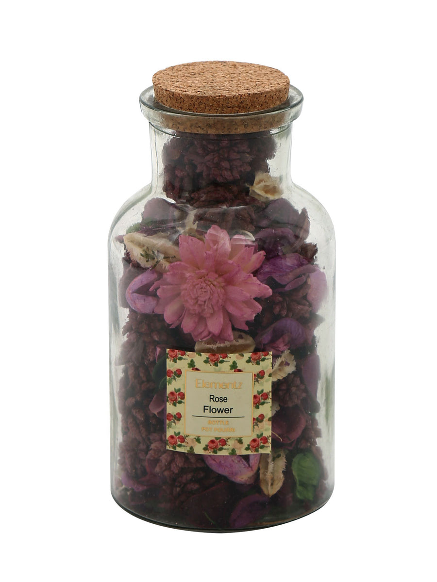 Rose Flower Potpourrie Bottle (Purple)