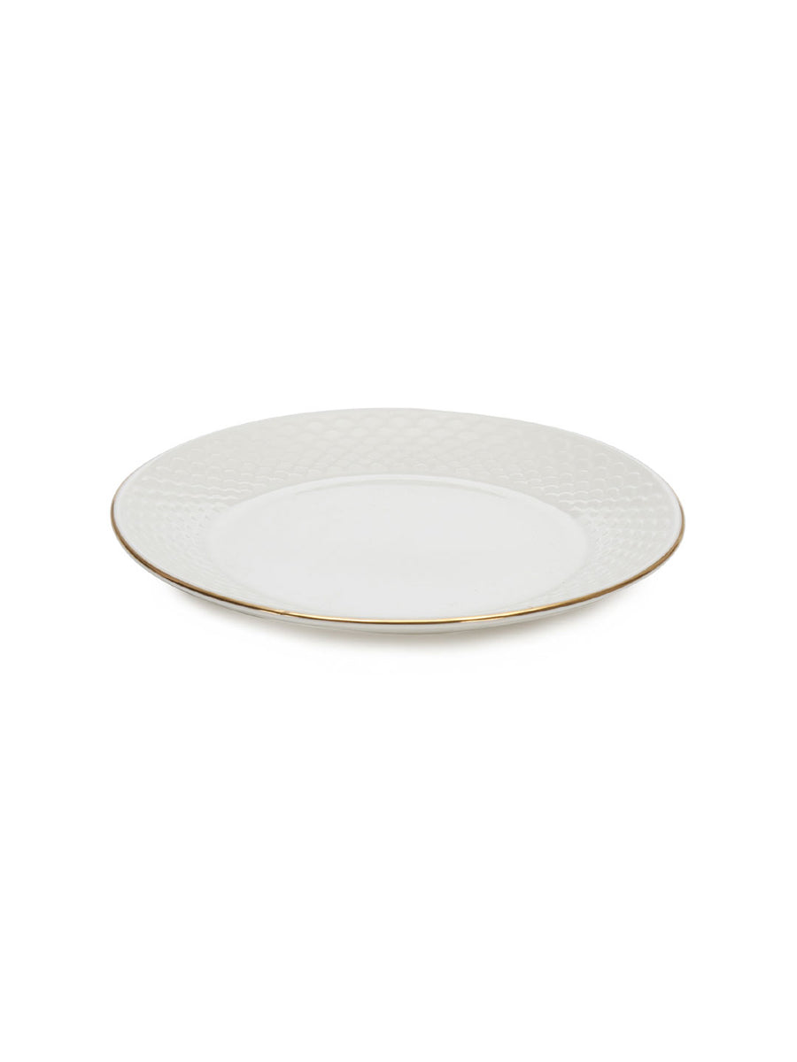 Gold Ripple Quarter Plate Set Of 6 Piece (White)