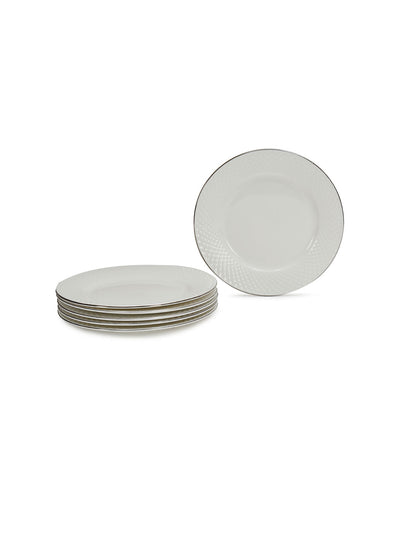 Platinum Casper Qauter Plate Set Of 6 Piece (White)
