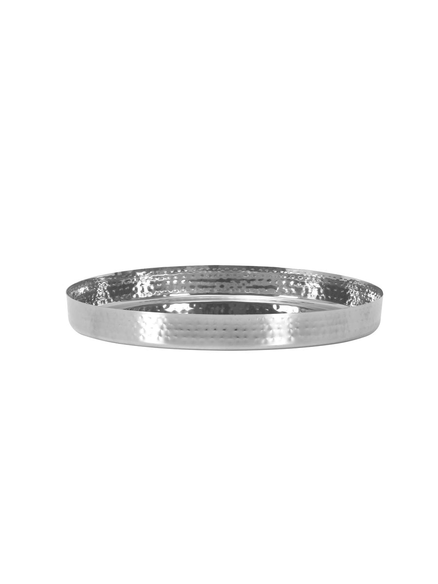 Hammered Straight Thali (Silver)