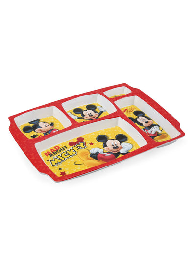 5 Partition Mickey Rectangle Plate (Multicolor)