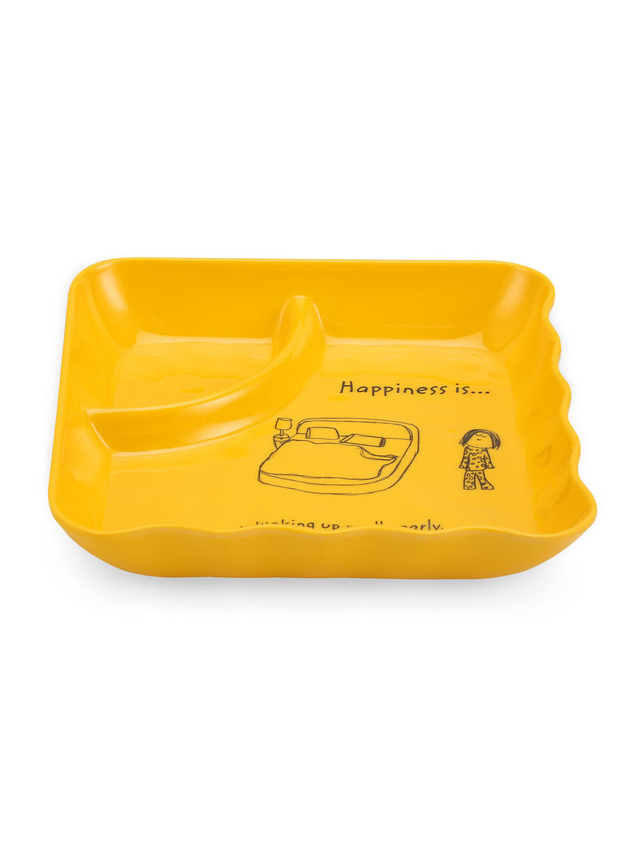 Happiness Sandwich Plate (Yellow)