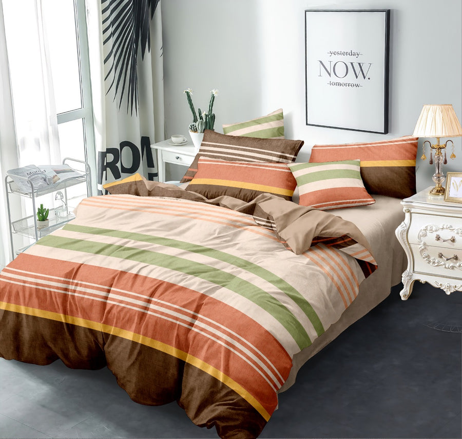 Stripes 220 cm x 240 cm 100 GSM Double Comforter (Brown)
