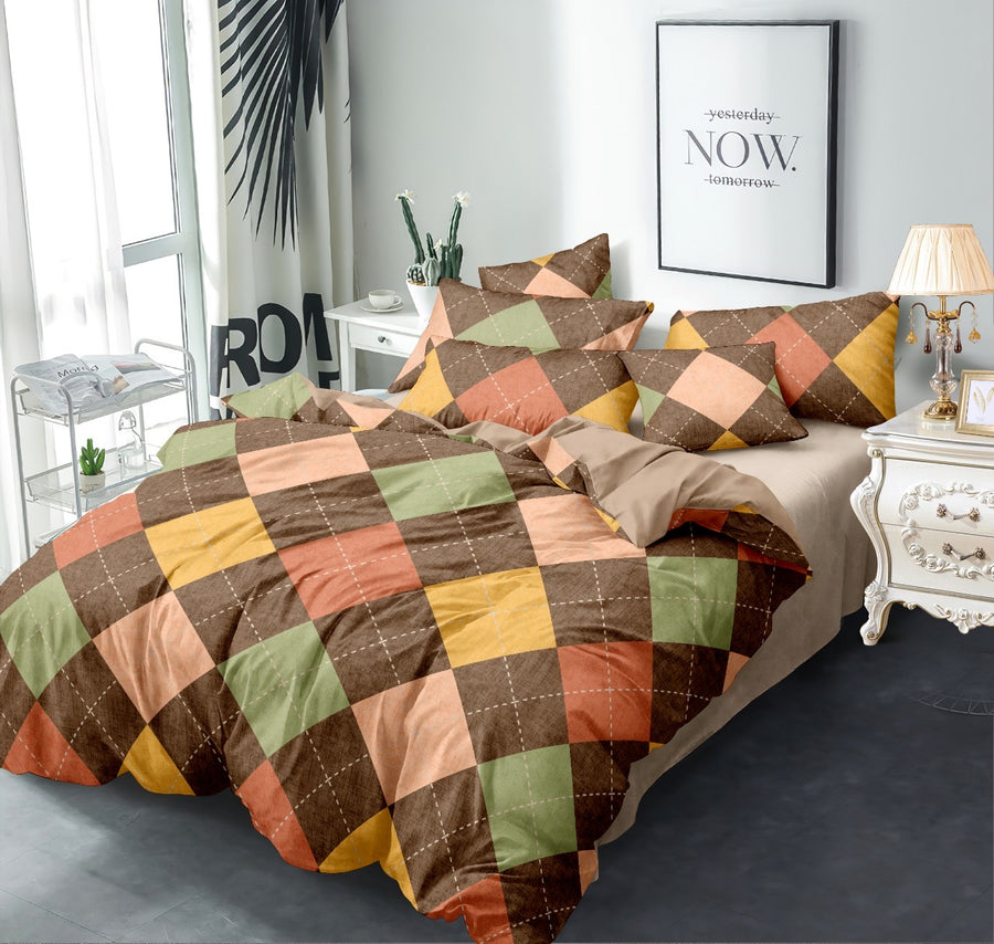 Geometric 155 cm x 220 cm 100 GSM Single Comforter (Brown)