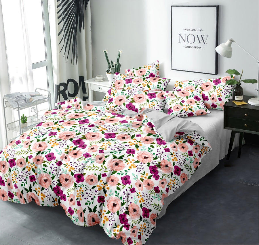Floral 155 cm x 220 cm 100 GSM Single Comforter (Multicolor)