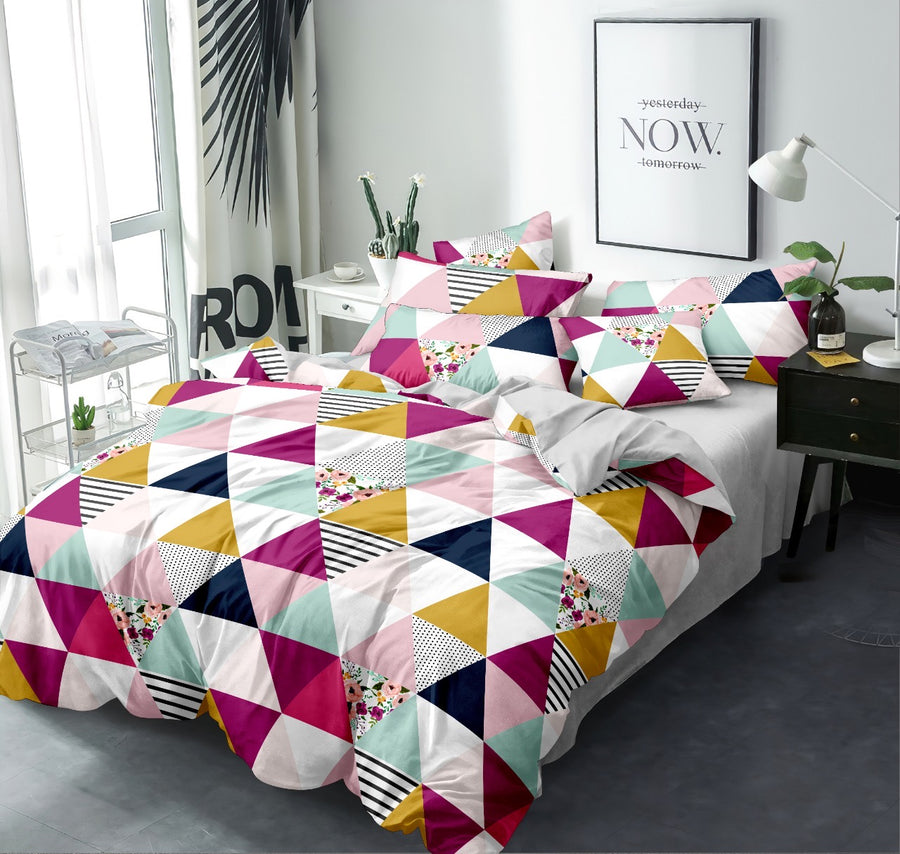 Geometric 155 cm x 220 cm 100 GSM Single Comforter (Multicolor)
