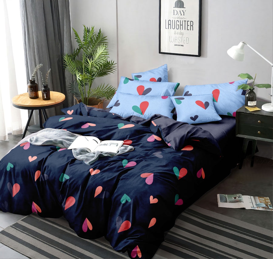 Heart 155 cm x 220 cm 100 GSM Single Comforter (Blue)
