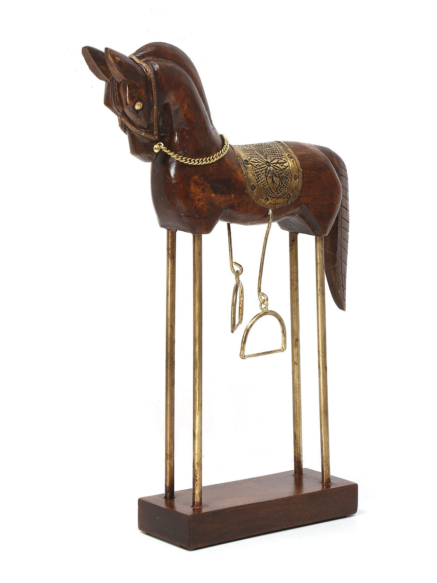 Brown And Gold Small Horse Showpiece (Brown)