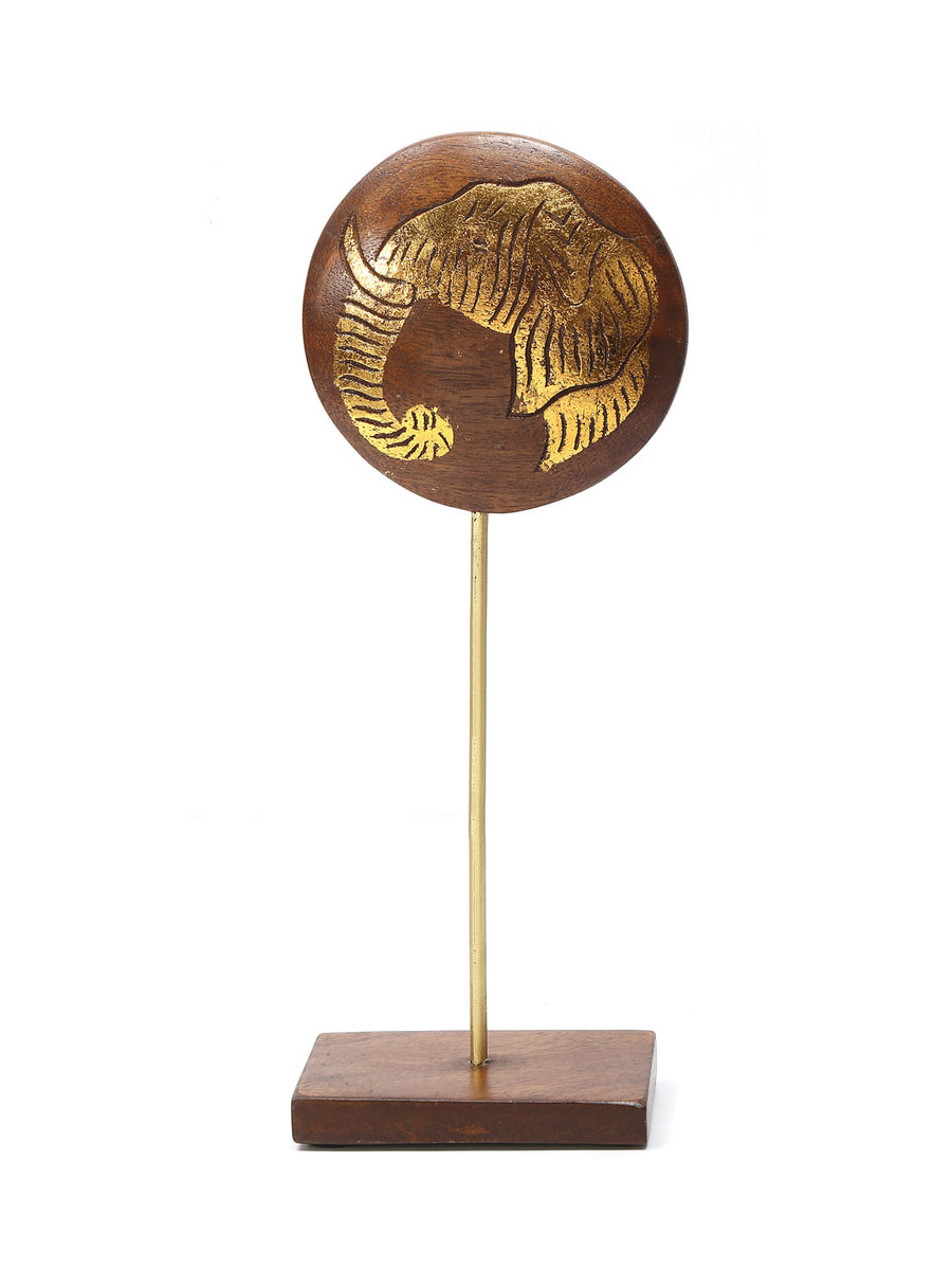 Gold Medium Elephant Face On Stand Showpiece (Golden )