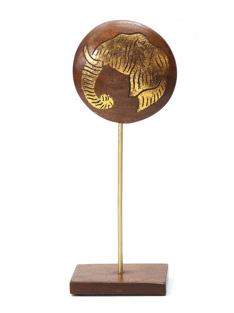 Gold Small Elephant Face On Stand Showpiece (Golden )