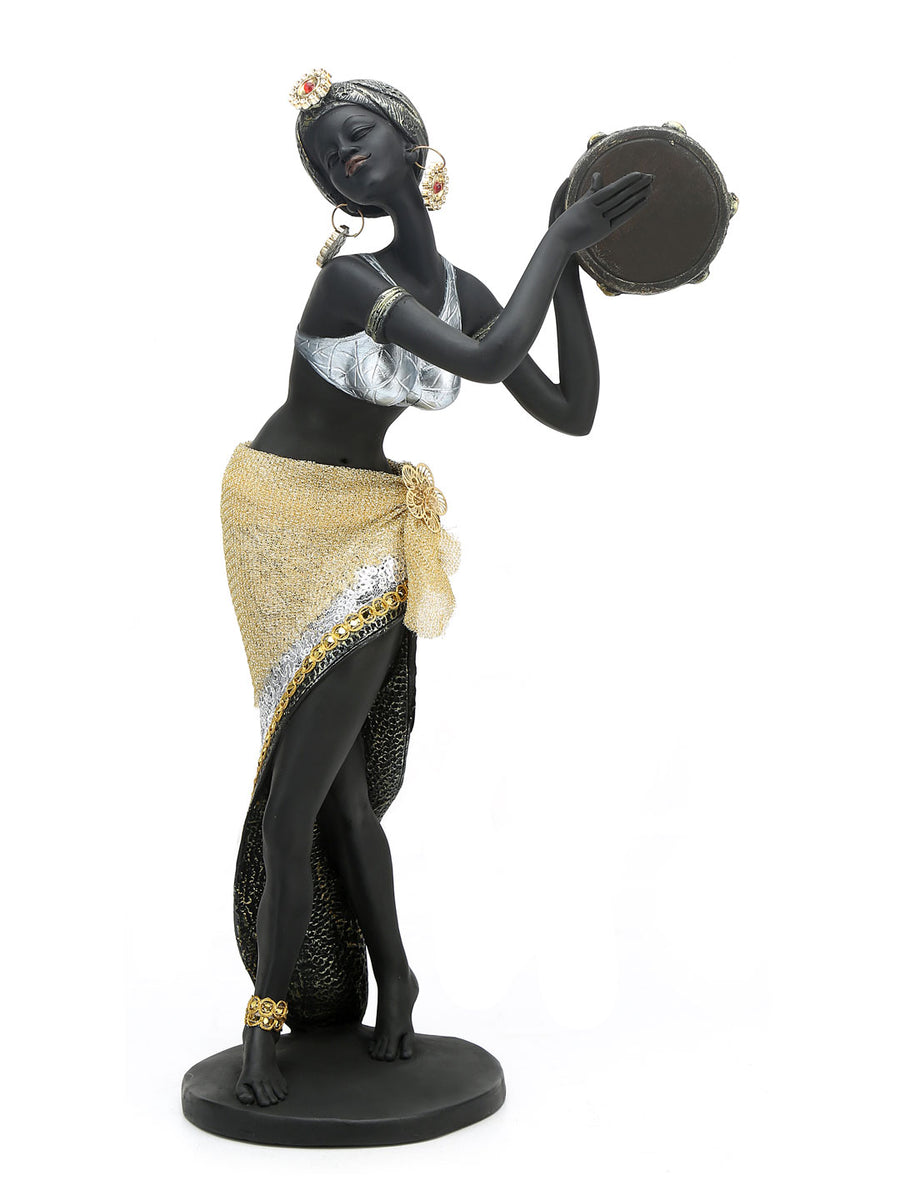 Tribal Lady Tambourine Showpiece (Black & Gold)