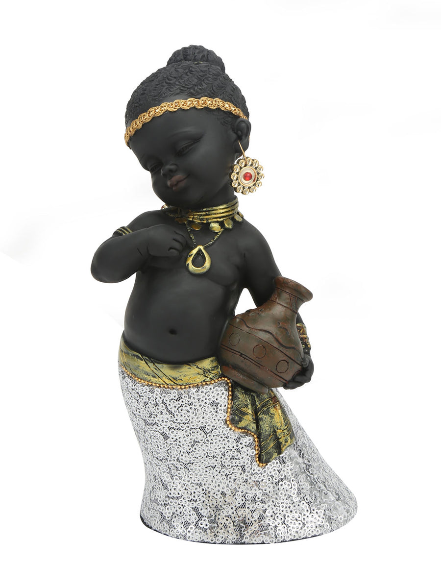 Tribal Girl Pot Showpiece (Black & Gold)