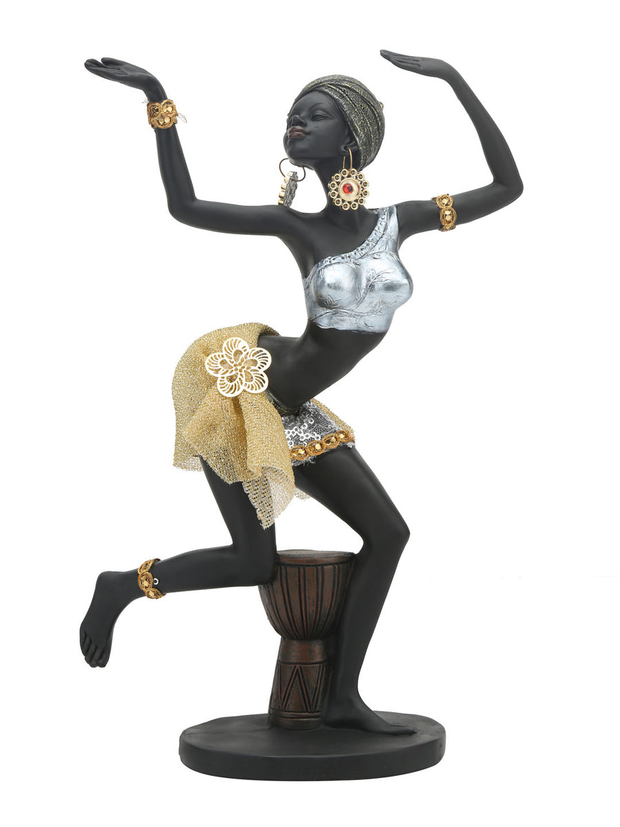 Tribal Lady Dancng Showpiece (Black & Gold)