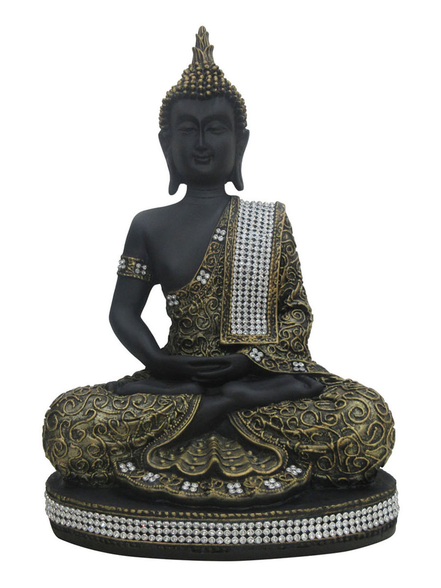 Dhyana Buddha Showpiece (Black & Gold)