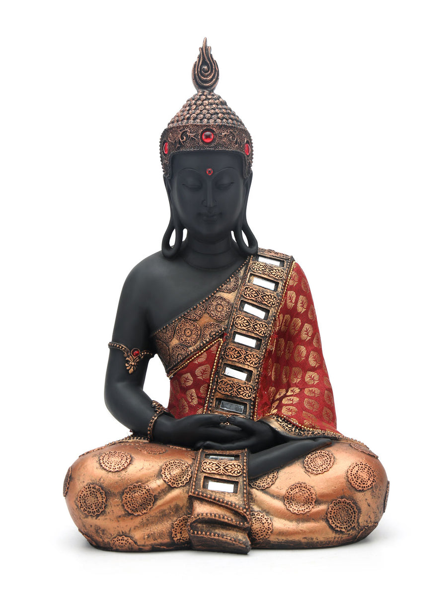 Dhyana Sitting Buddha Showpiece (Black & Red)