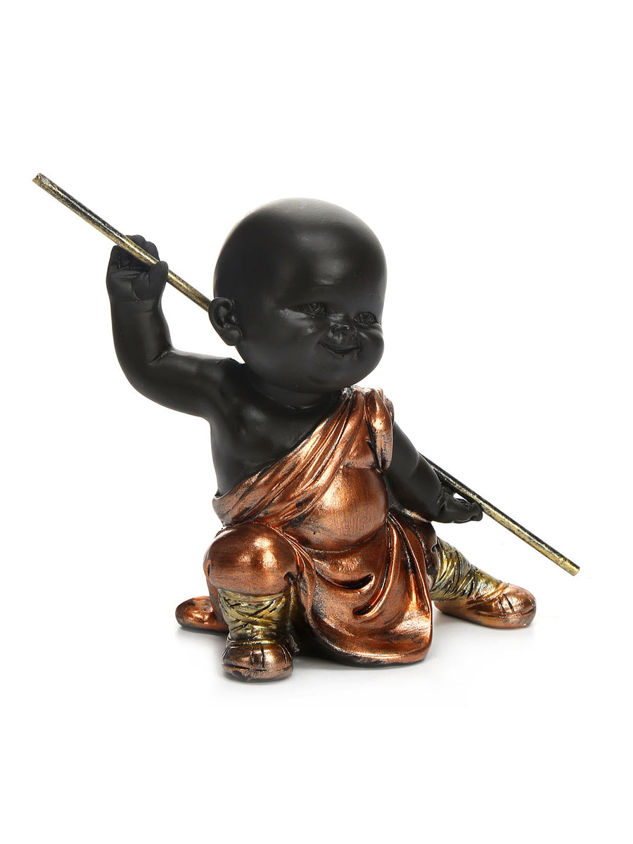 Baby Monk Holding Stick Showpiece (Brown)