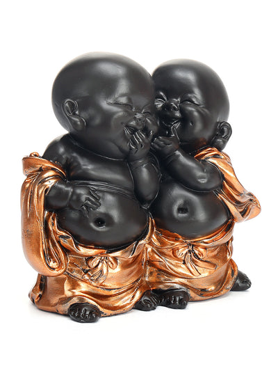Baby Monks Whispering Showpiece (Brown)