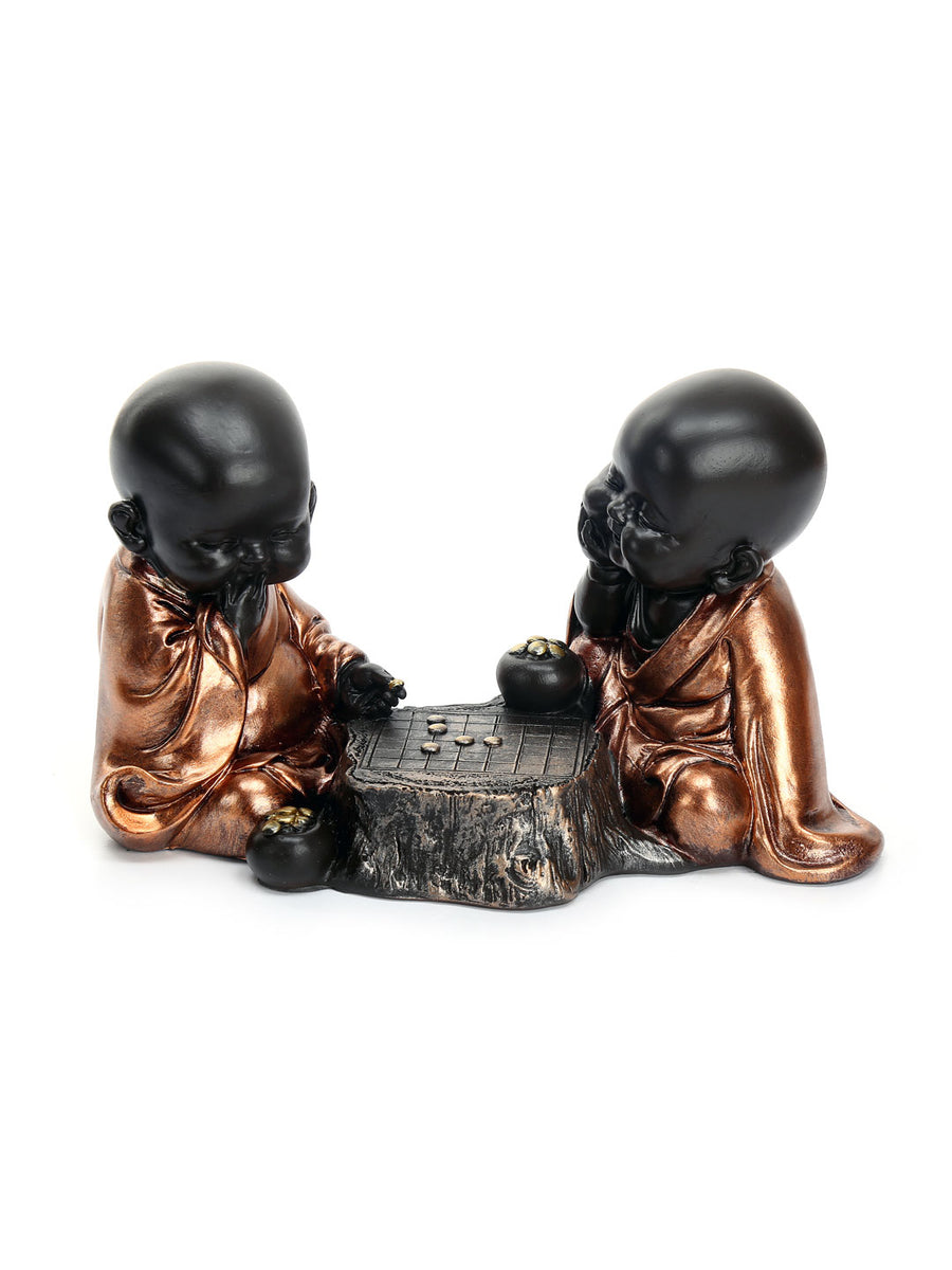 Baby Monks Playing Showpiece (Brown)