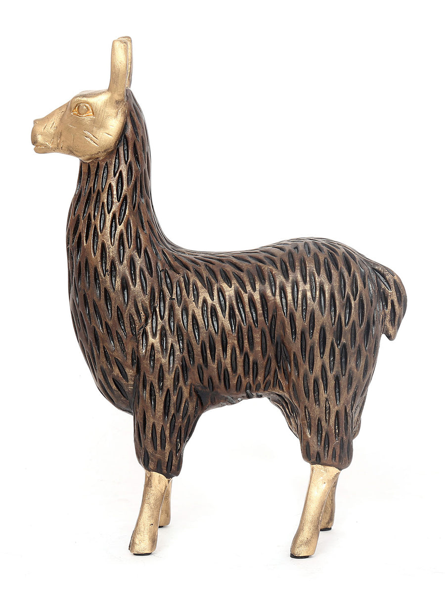 Gold And Brown Standing Lama Showpiece (Brown)