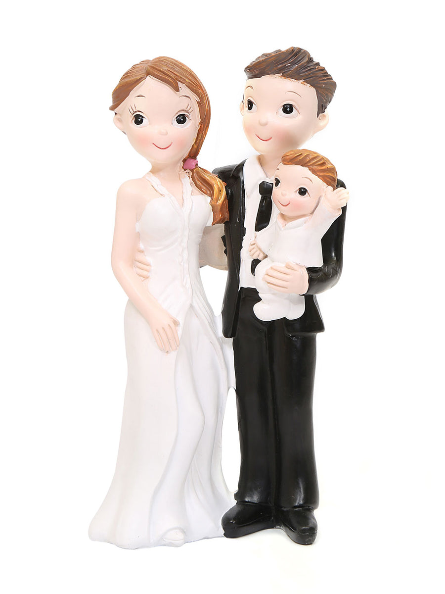 Couple Holding Kid Showpiece (White)