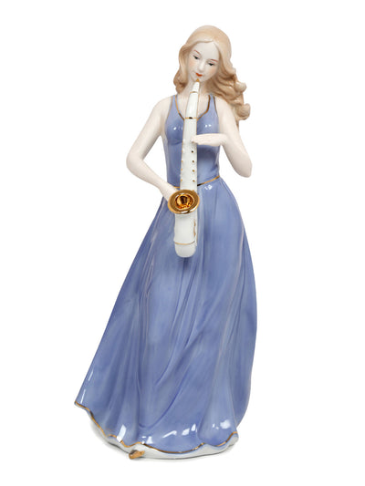 Lady Playing Trumpet Showpiece (Blue)