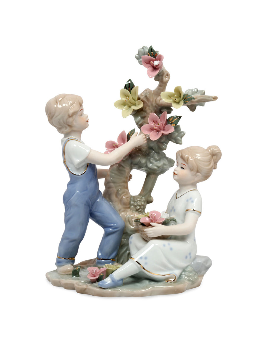 Children Plucking Floral Showpiece (Blue)