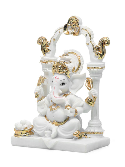 Ganesha in Arc Showpiece (White)