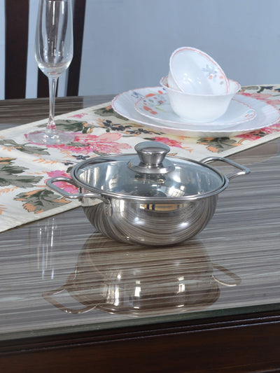 Serving Bowl with Handle & Lid (Silver)