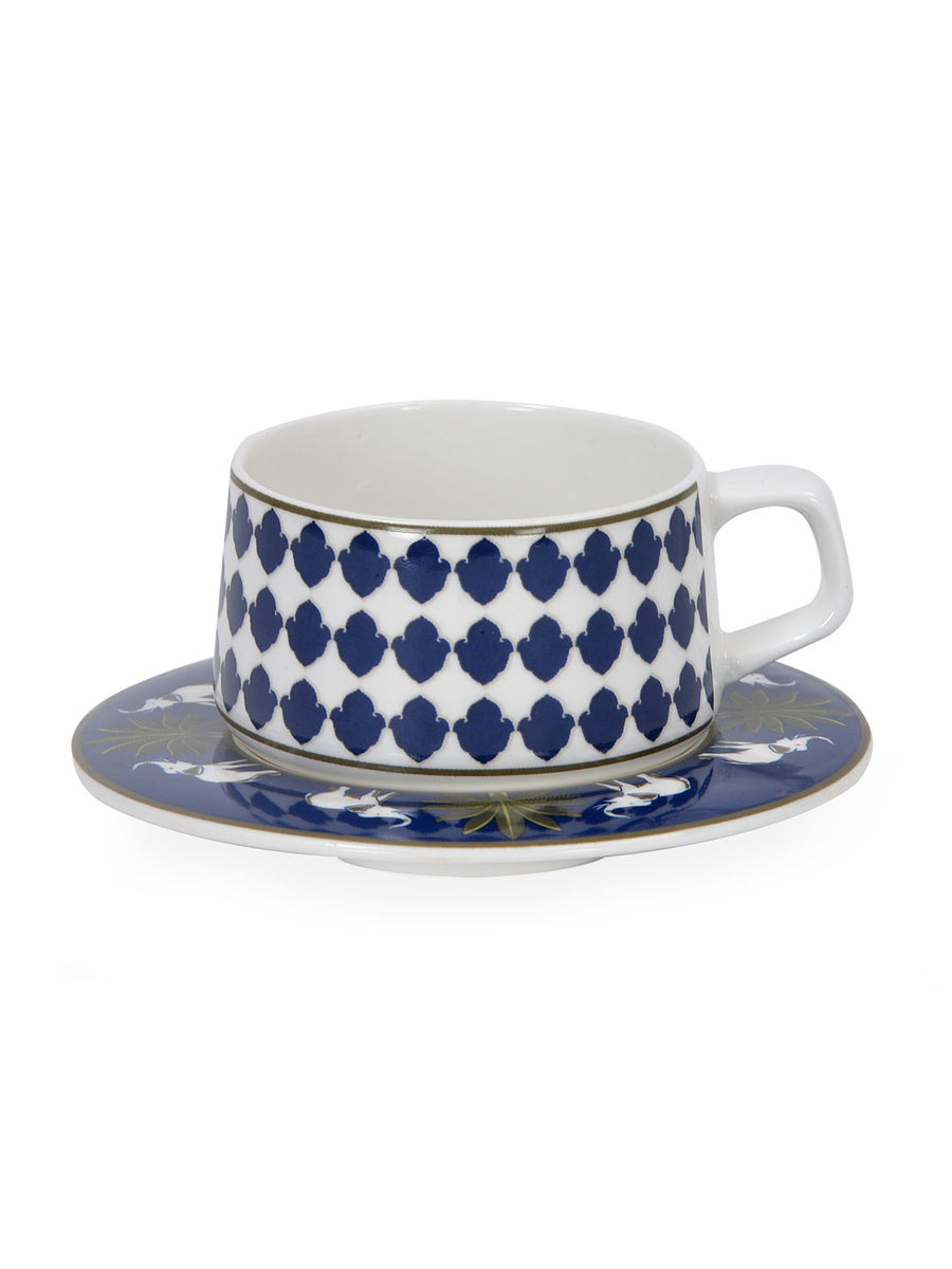 Ivory 220 ml Cup & Saucer Set of 12 (Blue)