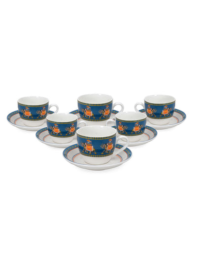 Swirling 220 ml Cup & Saucer Set of 12 (Green)