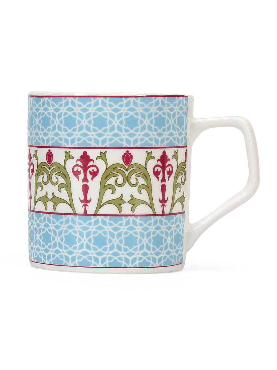 Floral 210 ml Coffee Mug Set of 6 (Green)