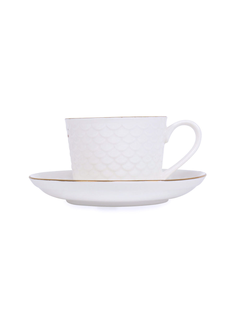 Gold Ripple Cup & Suacer Set Of 6 Piece 230Ml (White)