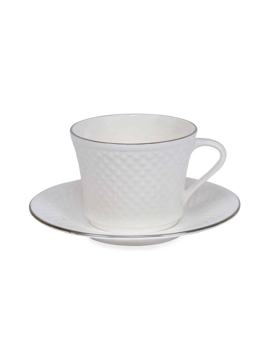 Platinum Casper Cup & Saucer Set Of 6 Piece 230Ml (White)