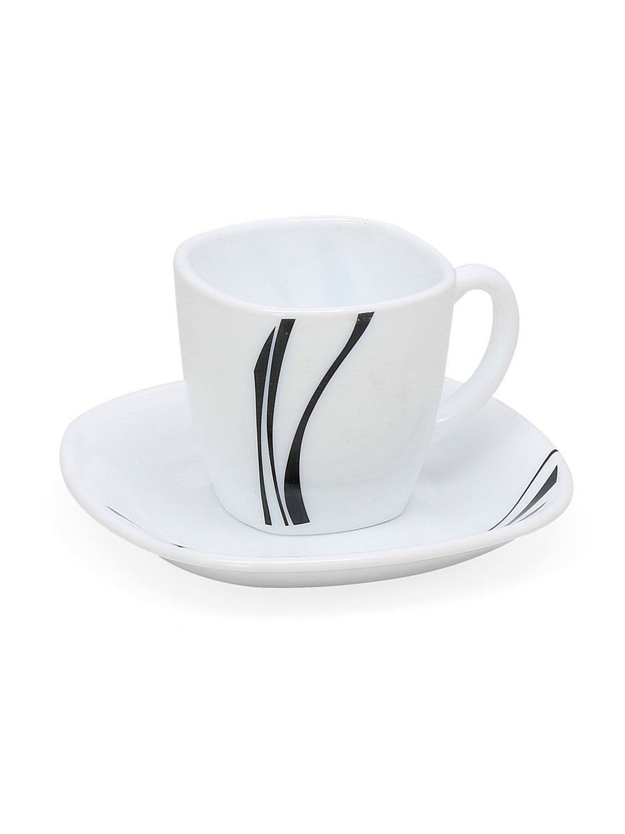 Laopala Midnight 125 ml Cup & Saucer Set of 12 (Multicolor)