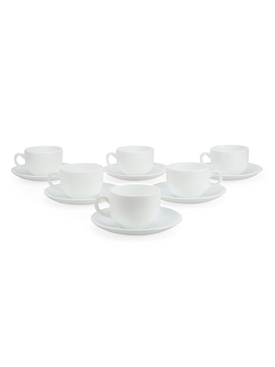 Plain 160 ml Cup & Saucer 12 Pieces (White)
