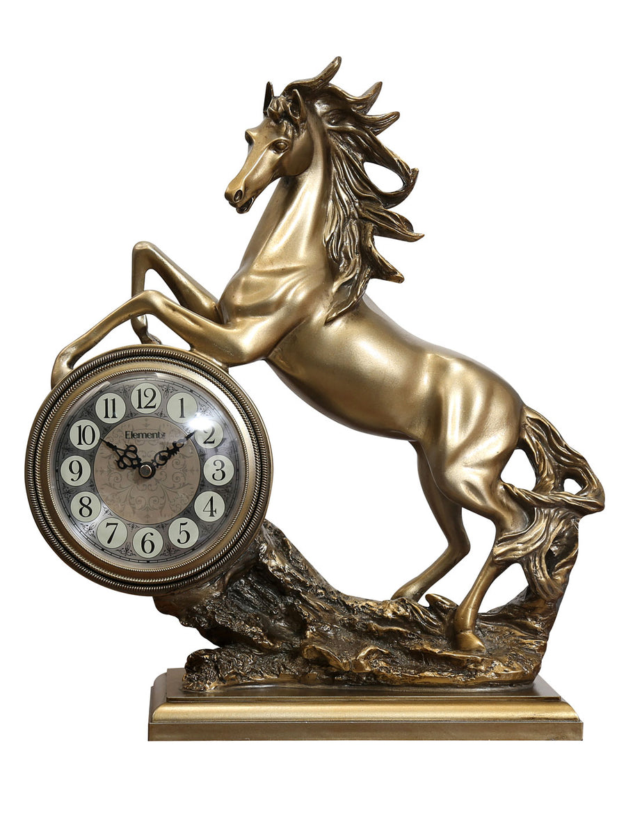 Jumping Horse Table Clock (Gold)