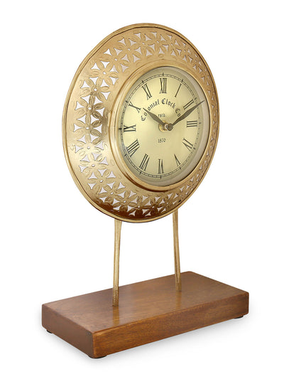 Tri-Angle Cutwork Table Clock Stand (Gold)