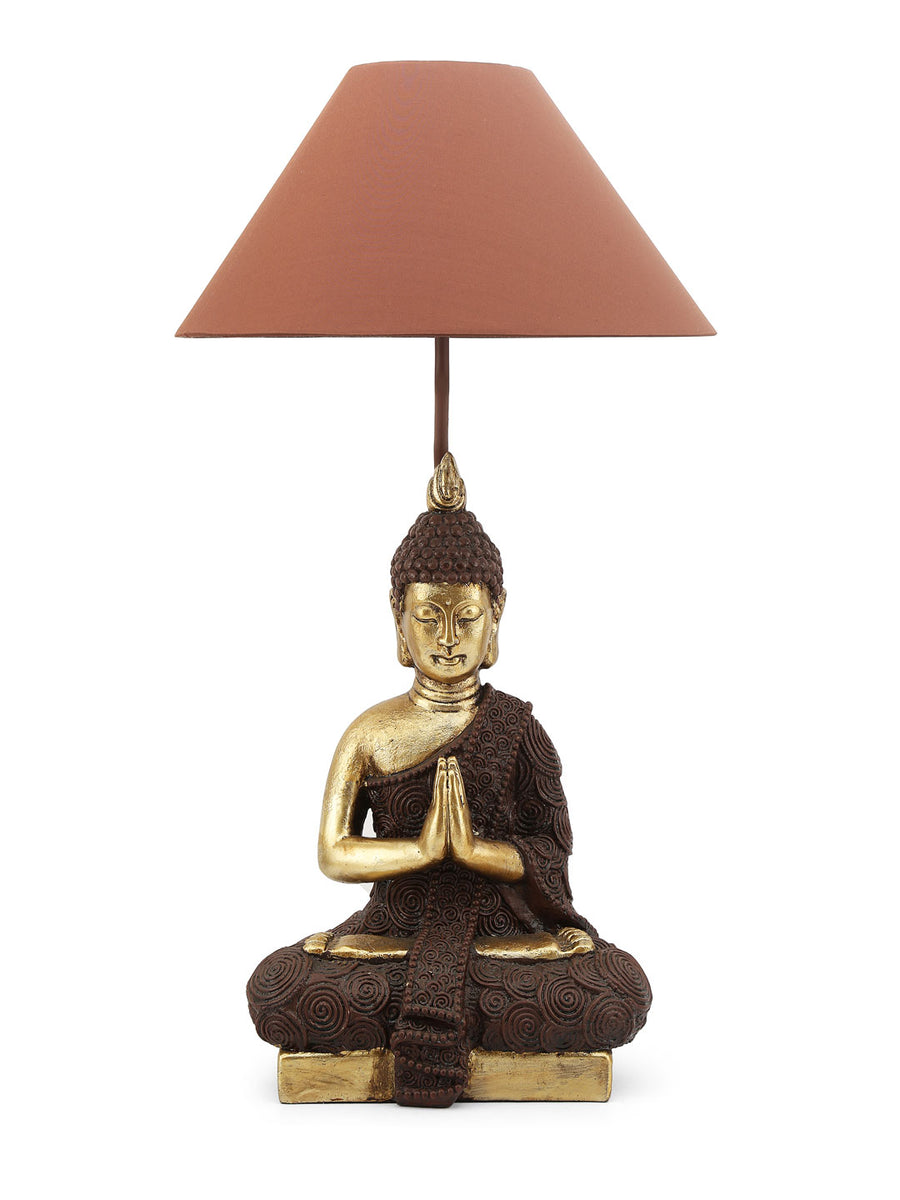 Meditating Buddha Table Lamp (Brown & Gold)