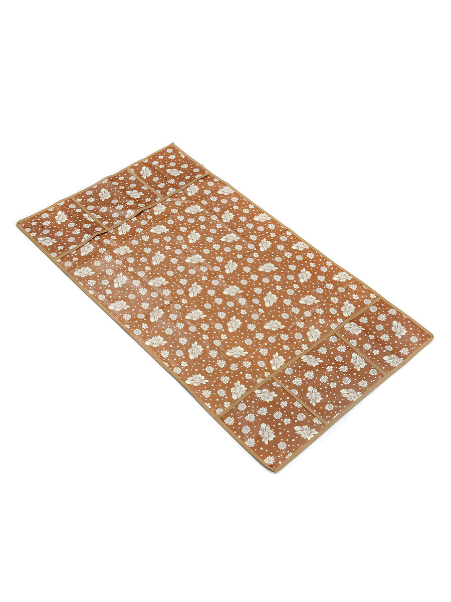 Printed 6 Pockets Fridge Top Cover (Brown)