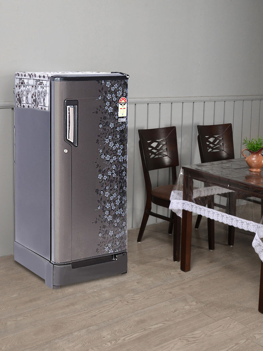 Printed 6 Pockets Fridge Top Cover (Grey)