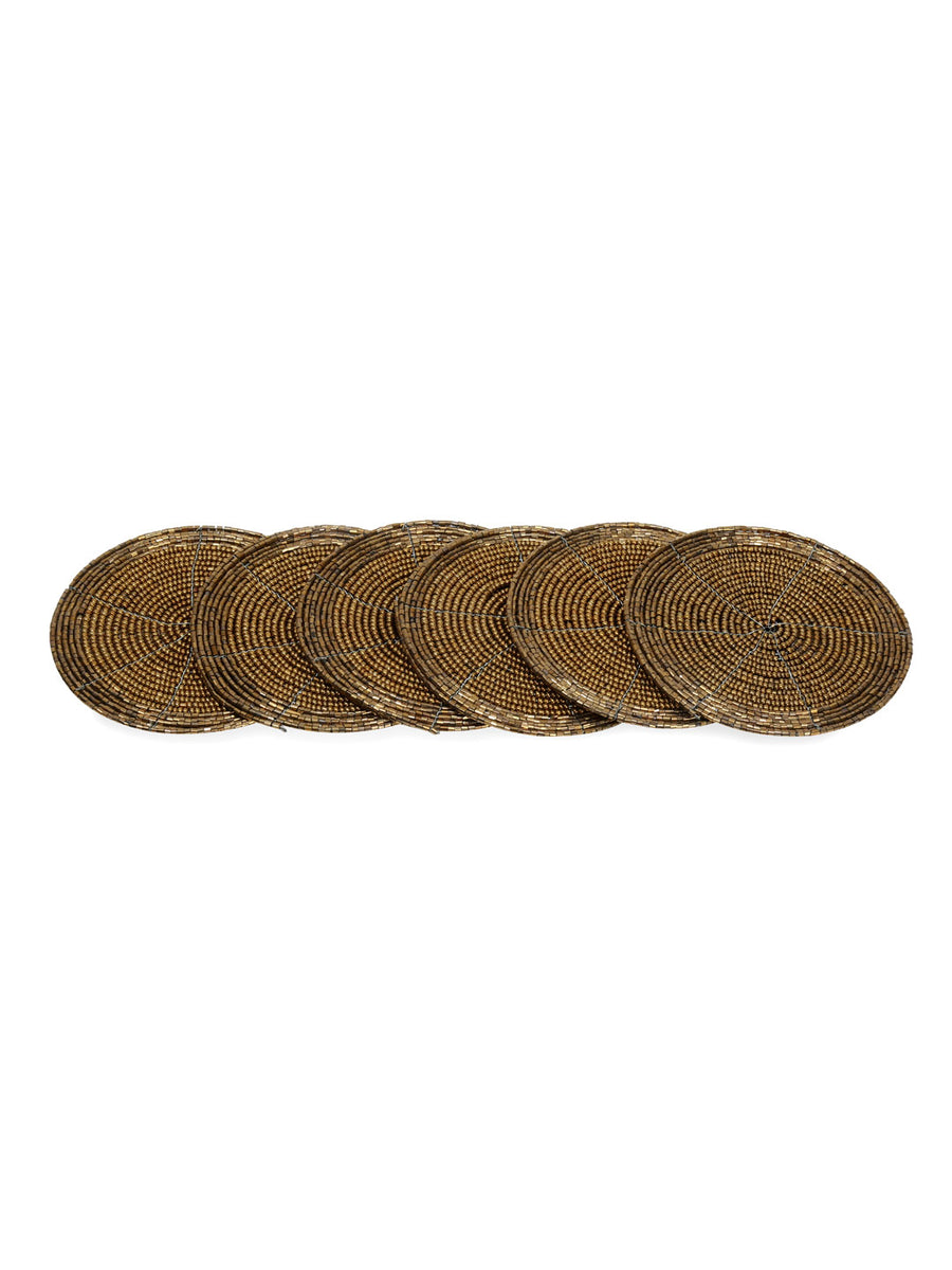 Bead Coaster Set Of 6 Piece 10Cm (Brown)