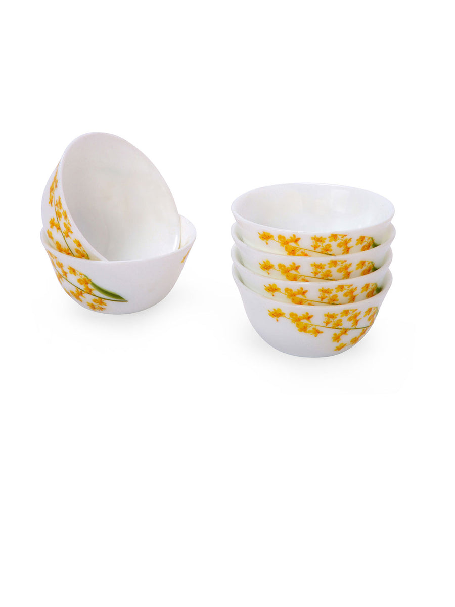 Laopala Yellow Grace Veg Bowl Set Of 6 Piece (Ivory)