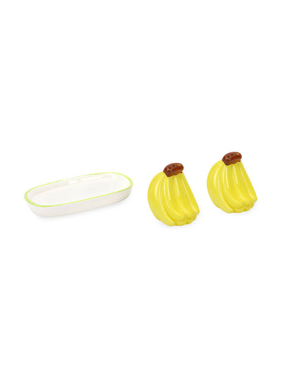 Salt & Pepper With Banana Tray (Yellow)
