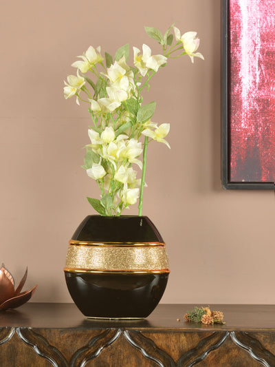 Jewel Round Vase (Black & Gold)